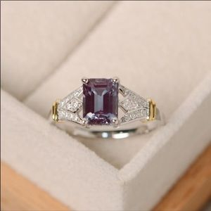 Sterling Silver Amethyst Ring w CZ & Gold Accents